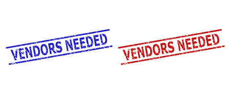 Blue and red VENDORS NEEDED watermarks on a white background. Flat vector scratched watermarks with VENDORS NEEDED phrase inside parallel lines. Watermarks with unclean style.