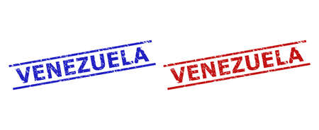 Blue and red VENEZUELA stamps on a white background. Flat vector textured seal stamps with VENEZUELA caption inside 2 parallel lines. Rubber imitations with distress style.