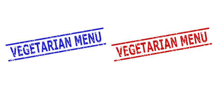 Blue and red VEGETARIAN MENU seal stamps on a white background. Flat vector grunge stamps with VEGETARIAN MENU phrase inside 2 parallel lines. Watermarks with distress texture.  イラスト・ベクター素材