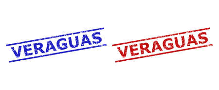 Blue and red VERAGUAS seals on a white background. Flat vector distress seals with VERAGUAS message inside 2 parallel lines. Rubber imitations with distress texture.  イラスト・ベクター素材