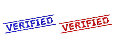 Blue and red VERIFIED seal stamps on a white background. Flat vector scratched seal stamps with VERIFIED title between 2 parallel lines. Watermarks with scratched texture.