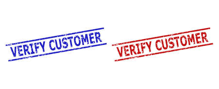 Blue and red VERIFY CUSTOMER stamps on a white background. Flat vector scratched seal stamps with VERIFY CUSTOMER caption inside 2 parallel lines. Rubber imitations with scratched surface.