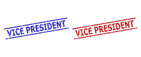 Blue and red VICE PRESIDENT watermarks on a white background. Flat vector distress watermarks with VICE PRESIDENT text between parallel lines. Watermarks with unclean style.