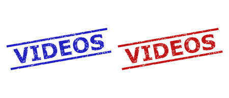 Blue and red VIDEOS seal stamps on a white background. Flat vector textured seal stamps with VIDEOS phrase between parallel lines. Watermarks with unclean style.