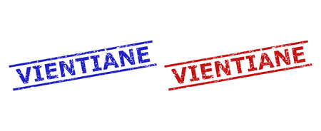 Blue and red VIENTIANE watermarks on a white background. Flat vector grunge watermarks with VIENTIANE text inside two parallel lines. Imprints with unclean texture.  イラスト・ベクター素材