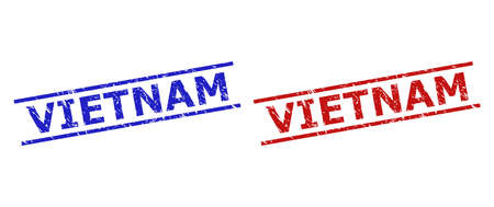 Blue and red VIETNAM seal stamps on a white background. Flat vector scratched seal stamps with VIETNAM phrase between two parallel lines. Rubber imitations with corroded style.  イラスト・ベクター素材