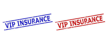 Blue and red VIP INSURANCE seal stamps on a white background. Flat vector distress seal stamps with VIP INSURANCE title inside two parallel lines. Rubber imitations with corroded surface.