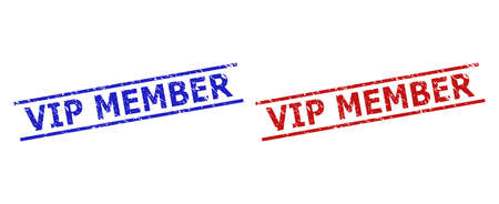 Blue and red VIP MEMBER seal stamps on a white background. Flat vector distress seal stamps with VIP MEMBER text between 2 parallel lines. Rubber imitations with corroded surface.