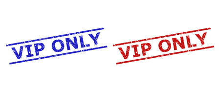 Blue and red VIP ONLY seals on a white background. Flat vector scratched seals with VIP ONLY title inside parallel lines. Rubber imitations with scratched style.