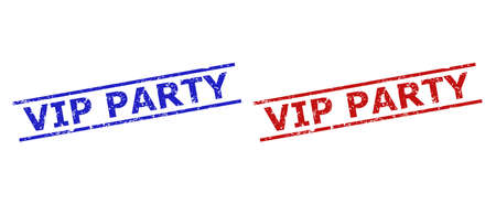 Blue and red VIP PARTY seal stamps on a white background. Flat vector distress stamps with VIP PARTY phrase inside two parallel lines. Watermarks with scratched style.