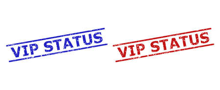 Blue and red VIP STATUS stamp seals on a white background. Flat vector grunge seals with VIP STATUS message inside 2 parallel lines. Rubber imitations with unclean surface.