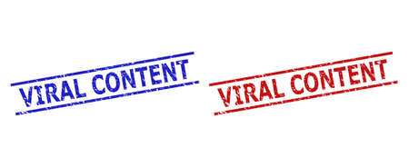 Blue and red VIRAL CONTENT seal stamps on a white background. Flat vector distress seal stamps with VIRAL CONTENT caption between two parallel lines. Rubber imitations with grunged surface.  イラスト・ベクター素材