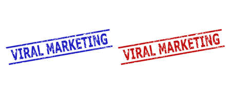 Blue and red VIRAL MARKETING seal stamps on a white background. Flat vector textured seal stamps with VIRAL MARKETING title inside two parallel lines. Rubber imitations with corroded surface.