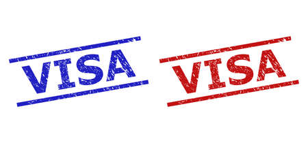 Blue and red VISA stamps on a white background. Flat vector distress stamps with VISA message between two parallel lines. Rubber imitations with distress surface.