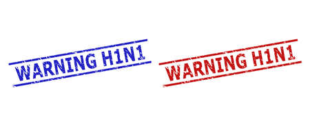 Blue and red WARNING H1N1 stamps on a white background. Flat vector textured watermarks with WARNING H1N1 title inside two parallel lines. Watermarks with unclean style.