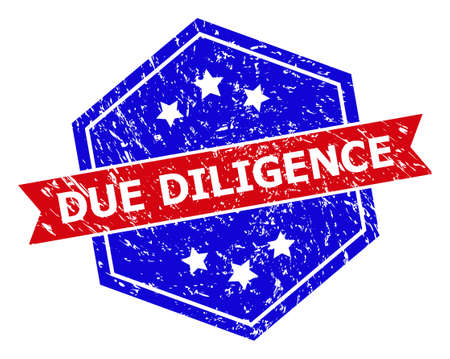 Hexagon DUE DILIGENCE stamp seal. Flat vector blue and red bicolor scratched rubber stamp with DUE DILIGENCE slogan inside hexagon shape, ribbon is used also. Rubber imitation with unclean style,