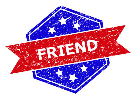 Hexagon FRIEND stamp. Flat vector blue and red bicolor distress rubber stamp with FRIEND caption inside hexagon form, ribbon is used. Rubber imitation with unclean style, on a white background.