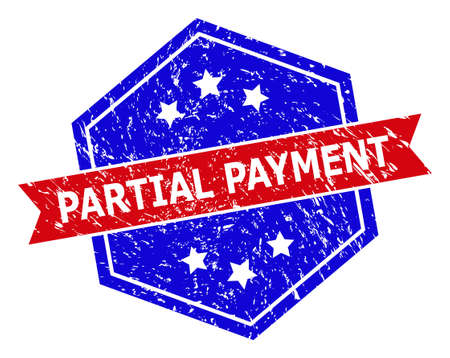 Hexagonal PARTIAL PAYMENT stamp seal. Flat vector blue and red bicolor scratched seal stamp with PARTIAL PAYMENT phrase inside hexagon shape, ribbon used. Imprint with unclean style,