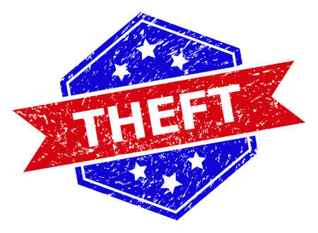 Hexagon THEFT stamp. Flat vector red and blue bicolor textured seal stamp with THEFT message inside hexagon shape, ribbon is used also. Rubber imitation with corroded style, on a white background.