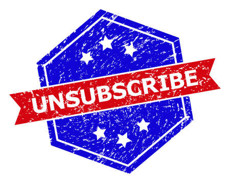 Hexagon UNSUBSCRIBE watermark. Flat vector blue and red bicolor textured watermark with UNSUBSCRIBE tag inside hexagoanl shape, ribbon is used also. Rubber imitation with scratched style, Vector Illustratie