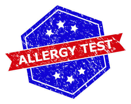 Hexagon ALLERGY TEST seal. Flat vector red and blue bicolor scratched seal with ALLERGY TEST title inside hexagon shape, ribbon is used. Imprint with scratched style, on a white background.