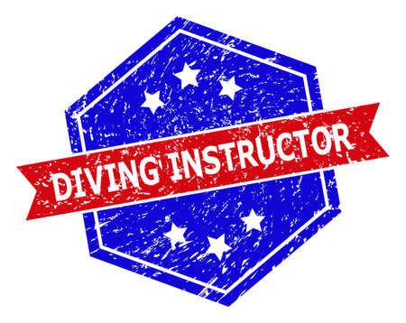 Hexagon DIVING INSTRUCTOR seal stamp. Flat vector blue and red bicolor distress seal stamp with DIVING INSTRUCTOR phrase inside hexagon form, ribbon is used. Rubber imitation with scratched texture, Vektorové ilustrace