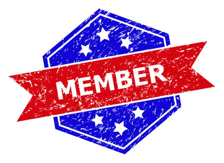 Hexagonal MEMBER stamp. Flat vector red and blue bicolor scratched rubber stamp with MEMBER title inside hexagoanl shape, ribbon is used also. Watermark with scratched surface, on a white background.
