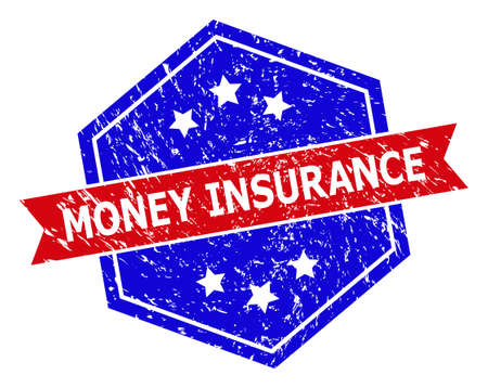 Hexagon MONEY INSURANCE stamp seal. Flat vector blue and red bicolor scratched seal stamp with MONEY INSURANCE caption inside hexagoanl form, ribbon is used also. Imprint with unclean style, Ilustración de vector