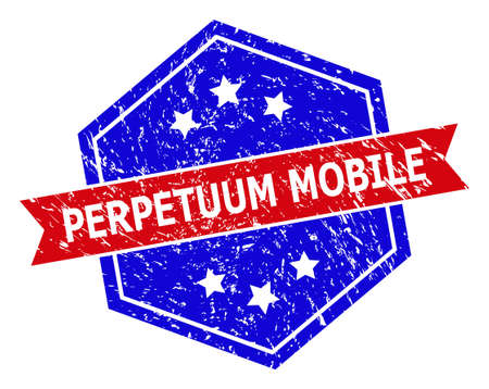Hexagonal PERPETUUM MOBILE seal stamp. Flat vector red and blue bicolor distress rubber stamp with PERPETUUM MOBILE tag inside hexagoanl shape, ribbon is used. Rubber imitation with grunged surface,