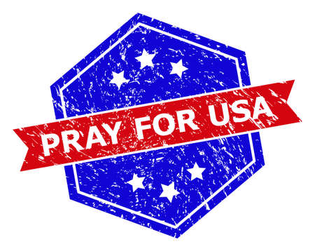 Hexagon PRAY FOR USA seal stamp. Flat vector blue and red bicolor distress seal stamp with PRAY FOR USA text inside hexagon form, ribbon used. Imprint with unclean style, on a white background.