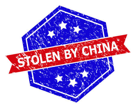 Hexagonal STOLEN BY CHINA seal stamp. Flat vector blue and red bicolor scratched seal stamp with STOLEN BY CHINA caption inside hexagoanl shape, ribbon used. Rubber imitation with scratched style,