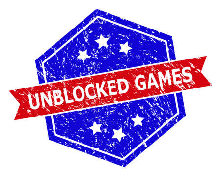 Hexagonal UNBLOCKED GAMES stamp seal. Flat vector red and blue bicolor scratched rubber stamp with UNBLOCKED GAMES phrase inside hexagon form, ribbon used also. Rubber imitation with scratched style,
