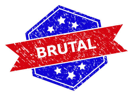 Hexagon BRUTAL stamp seal. Flat vector red and blue bicolor distress seal stamp with BRUTAL tag inside hexagon form, ribbon used. Imprint with unclean surface, on a white background.