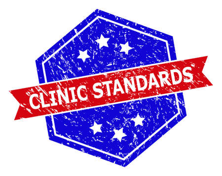 Hexagon CLINIC STANDARDS watermark. Flat vector blue and red bicolor textured rubber stamp with CLINIC STANDARDS tag inside hexagon shape, ribbon used also. Watermark with corroded texture,