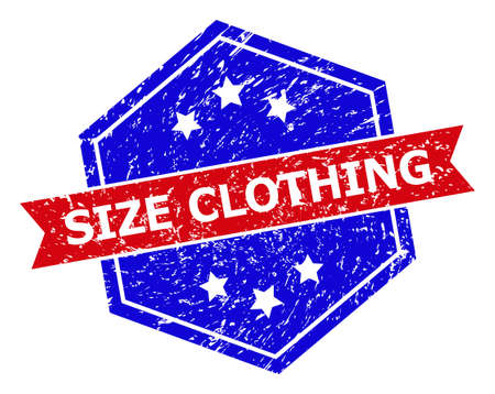 Hexagon SIZE CLOTHING stamp. Flat vector blue and red bicolor grunge rubber stamp with SIZE CLOTHING slogan inside hexagon form, ribbon is used also. Rubber imitation with unclean surface,