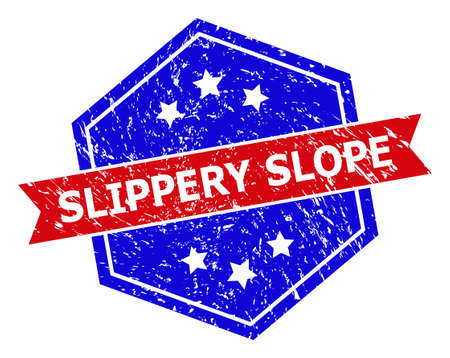 Hexagon SLIPPERY SLOPE stamp seal. Flat vector blue and red bicolor distress rubber stamp with SLIPPERY SLOPE message inside hexagon form, ribbon is used also. Watermark with distress surface, Illusztráció