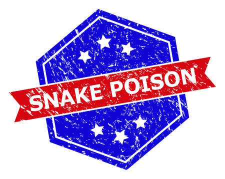Hexagon SNAKE POISON stamp. Flat vector blue and red bicolor grunge rubber stamp with SNAKE POISON title inside hexagon form, ribbon used also. Rubber imitation with corroded style,