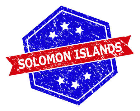 Hexagon SOLOMON ISLANDS watermark. Flat vector red and blue bicolor distress rubber stamp with SOLOMON ISLANDS tag inside hexagon form, ribbon is used also. Watermark with unclean surface,