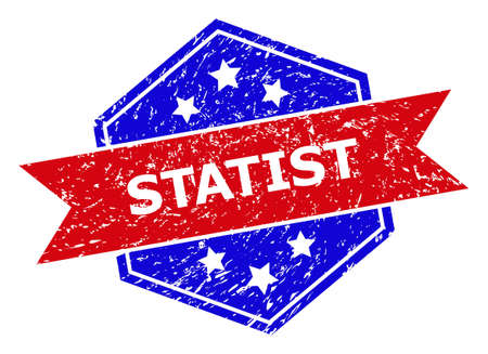 Hexagonal STATIST seal stamp. Flat vector red and blue bicolor grunge seal stamp with STATIST slogan inside hexagoanl shape, ribbon is used also. Imprint with grunge surface, on a white background.