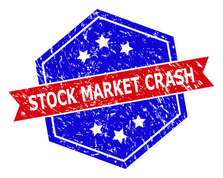 Hexagon STOCK MARKET CRASH stamp seal. Flat vector red and blue bicolor grunge seal stamp with STOCK MARKET CRASH title inside hexagon form, ribbon used also. Rubber imitation with unclean style, Vectores