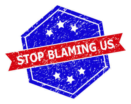 Hexagon STOP BLAMING US watermark. Flat vector red and blue bicolor scratched watermark with STOP BLAMING US phrase inside hexagon shape, ribbon is used also. Watermark with corroded style,