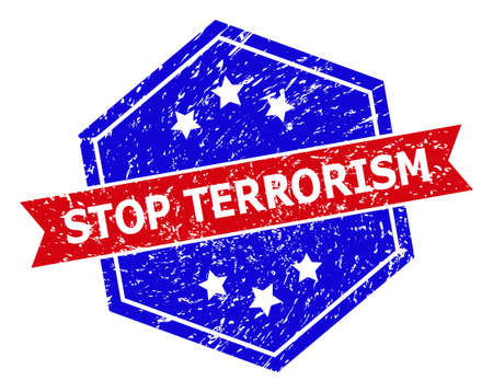 Hexagon STOP TERRORISM stamp. Flat vector red and blue bicolor grunge stamp with STOP TERRORISM tag inside hexagon form, ribbon used also. Watermark with unclean surface, on a white background. Vectores