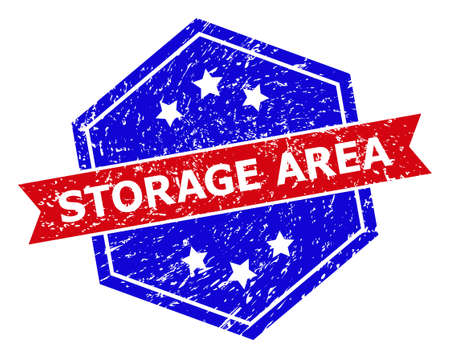 Hexagon STORAGE AREA seal. Flat vector red and blue bicolor distress seal with STORAGE AREA title inside hexagon shape, ribbon is used also. Rubber imitation with distress style,