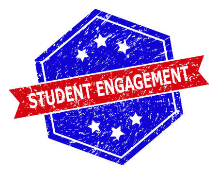 Hexagonal STUDENT ENGAGEMENT watermark. Flat vector red and blue bicolor textured watermark with STUDENT ENGAGEMENT text inside hexagon form, ribbon used also. Watermark with scratched texture,