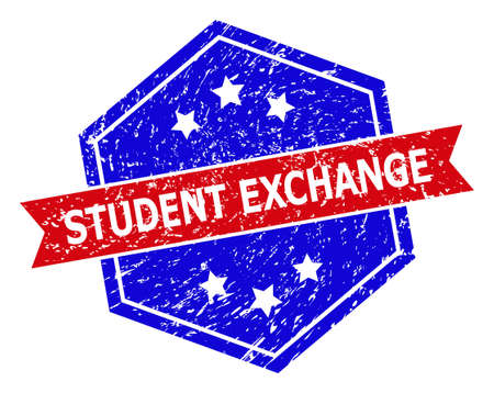Hexagonal STUDENT EXCHANGE stamp seal. Flat vector red and blue bicolor grunge rubber stamp with STUDENT EXCHANGE title inside hexagoanl form, ribbon used. Watermark with grunge texture,