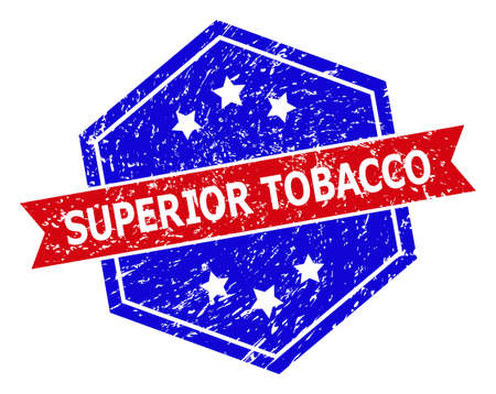 Hexagonal SUPERIOR TOBACCO watermark. Flat vector blue and red bicolor scratched watermark with SUPERIOR TOBACCO tag inside hexagoanl shape, ribbon is used. Watermark with scratched texture,