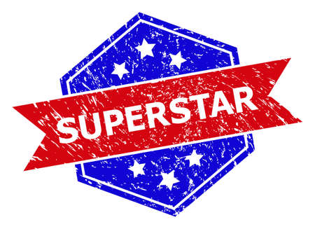 Hexagon SUPERSTAR seal stamp. Flat vector red and blue bicolor grunge rubber stamp with SUPERSTAR title inside hexagon form, ribbon used also. Watermark with unclean texture, on a white background. Vectores