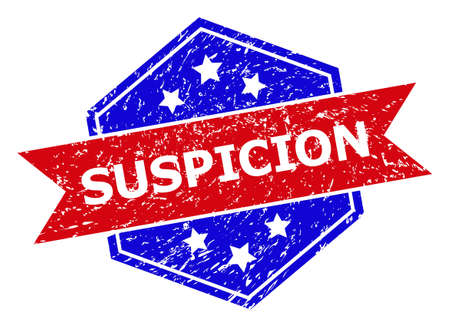Hexagon SUSPICION seal. Flat vector red and blue bicolor scratched watermark with SUSPICION title inside hexagon form, ribbon is used also. Watermark with distress texture, on a white background.
