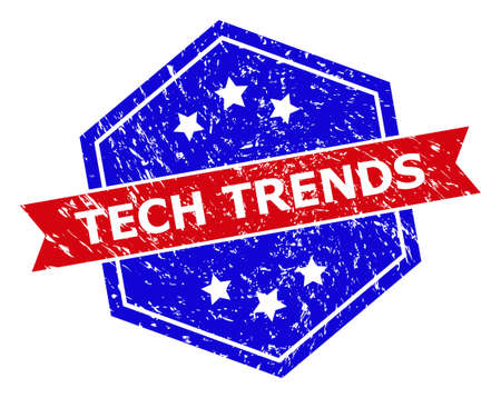 Hexagon TECH TRENDS stamp. Flat vector red and blue bicolor textured rubber stamp with TECH TRENDS title inside hexagon shape, ribbon is used. Rubber imitation with corroded style,