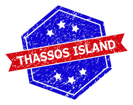 Hexagonal THASSOS ISLAND stamp seal. Flat vector red and blue bicolor grunge rubber stamp with THASSOS ISLAND title inside hexagoanl shape, ribbon is used also. Rubber imitation with grunge texture, Vectores